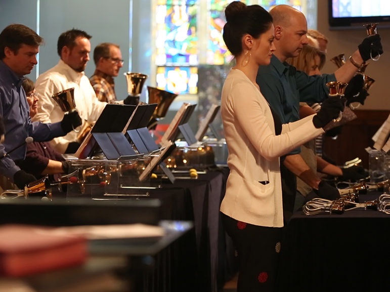 The bell choir at Central United Methodist Church performs for a Sunday morning service. Photo courtesy of Beyond Belief