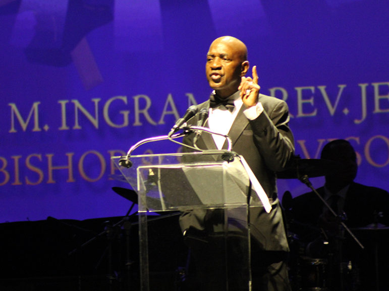 Charles Ogletree, Harvard Law School professor and member of the African Methodist Episcopal Church, spoke during the bicentennial banquet hosted by the First Episcopal District of the African Methodist Episcopal Church on July 5, 2016, the eve of the denomination's 50th quadrennial General Conference in Philadelphia. RNS photo by Adelle M. Banks
