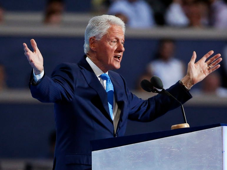 Former President Bill Clinton addresses the Democratic National Convention in Philadelphia on July 26, 2016. Photo courtesy of REUTERS/Lucy Nicholson *Editors: This photo may only be republished with RNS-UDDIN-OPED, originally transmitted on July 28, 2016.