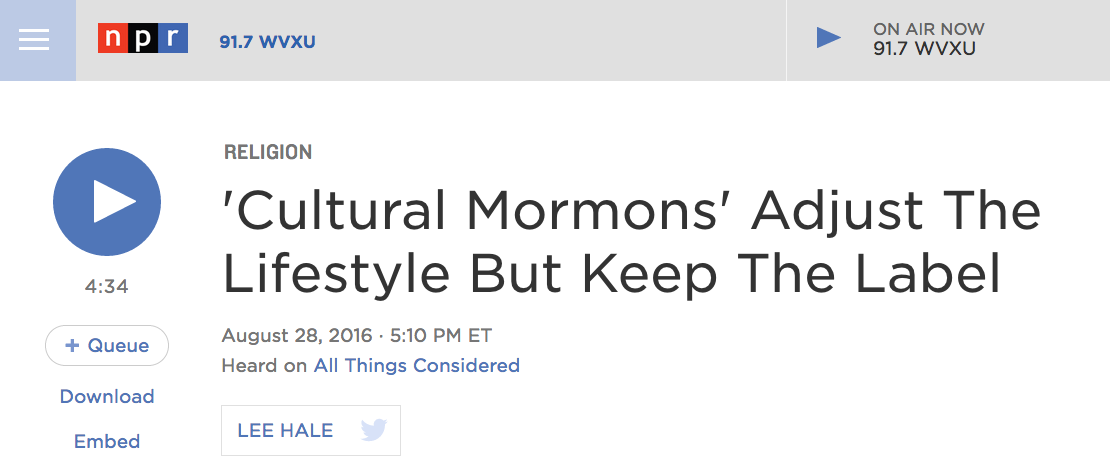Not an active Mormon or an ex-Mormon, but something in