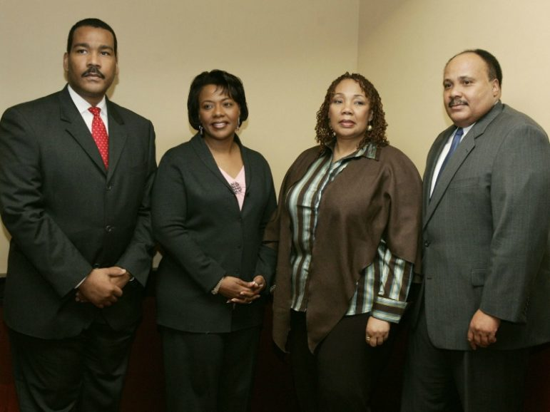 Left to right, the children of slain American civil rights activist Martin Luther King Jr. -- Dexter King, the Rev. Bernice King, Yolanda King and Martin Luther King III -- gather at a news conference in Atlanta on Feb. 5, 2006. Yolanda King has died since this photo was taken. Photo by Jason Reed/REUTERS/File Photo