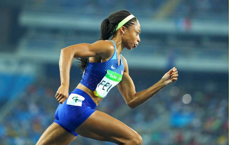 Allyson Felix of USA competes in the women's 400m final on August 15, 2016 in Rio de Janeiro. Photo courtesy of REUTERS/Lucy Nicholson