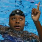 Simone Manuel of USA reacts after winning the gold