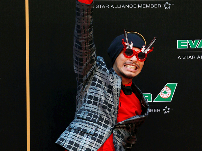 Malaysian singer Wee Meng Chee, also known as Namewee, poses on the red carpet at the 27th Golden Melody Awards in Taipei, Taiwan