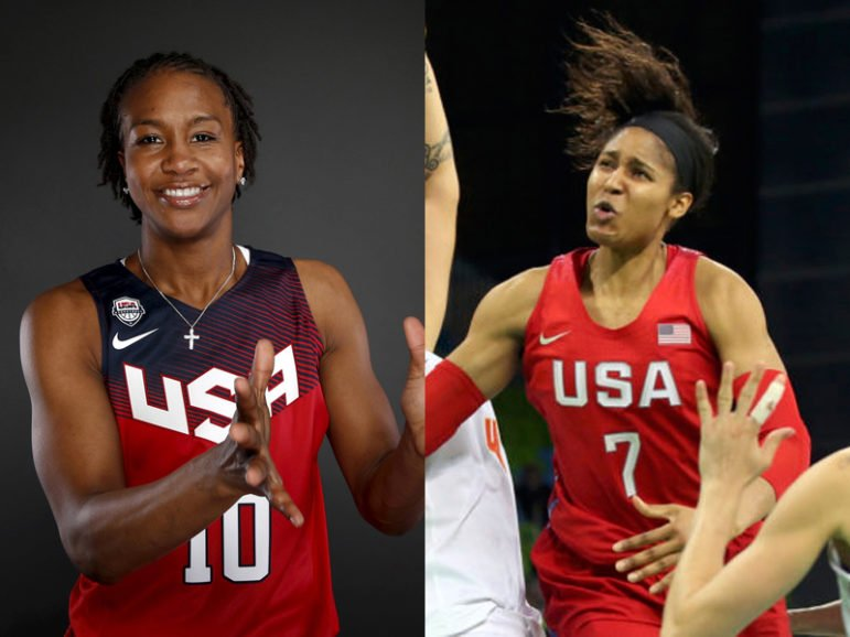 Basketball player Tamika Catchings, left, poses for a portrait at the U.S. Olympic Committee media summit in Beverly Hills, Calif., on March 9, 2016. Photo courtesy of REUTERS/Lucy Nicholson.   Maya Moore, right, competes against Spain during the women's preliminary round group B in Rio de Janeiro on Aug. 8, 2016. Photo courtesy of REUTERS/Shannon Stapleton