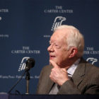 """Former U.S. President Jimmy Carter listens as wife Rosalynn Carter (not pictured) speaks during """"A Conversation with the Carters,"""" during the annual public event at The Carter Center in Atlanta, Georgia, on September 15, 2015.  Photo courtesy of REUTERS/Tami Chappell"""