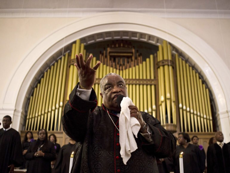 The Rev. John Foster gives a sermon at the Big Bethel AME Church in the Sweet Auburn neighborhood of Atlanta on Sept. 20, 2015. Photo courtesy of REUTERS/Brittany Greeson  *Editors: This photo may only be republished with RNS-CHURCH-SHOPPING, originally transmitted on Aug. 23, 2016.