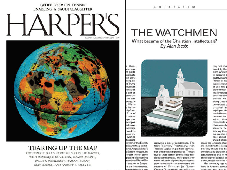 """""""The Watchmen"""" article by Alan Jacobs published in the September edition of Harper's Magazine. Images courtesy of Harper's Magazine"""
