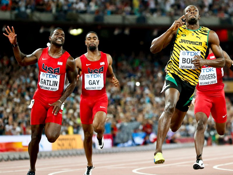 Left to right, Justin Gatlin and Tyson Gay from the U.S. and Usain Bolt of  Jamaica compete in the men's 100m final during the 15th IAAF World  Championships ...