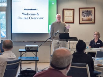 Peter Gudaitis, president of the National Disaster Interfaiths Network, leads a training session on October 29, 2014. Photo courtesy of Peter Gudaitis