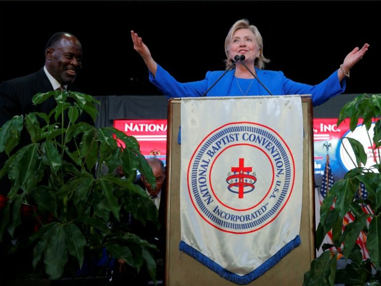Democratic presidential candidate Hillary Clinton speaks to the annual session of the National Baptist Convention on Sept. 8, 2016, in Kansas City, Mo. Photo courtesy of Brian Snyder/REUTERS *Editors: This photo may only be republished with RNS-CLINTON-FAITH, originally transmitted on Sept. 9, 2016.