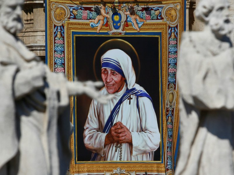 A Tapestry Depicting Mother Teresa Of Calcutta Is Seen In The Facade Of Saint Peters Basilica During A Mass Celebrated By Pope Francis