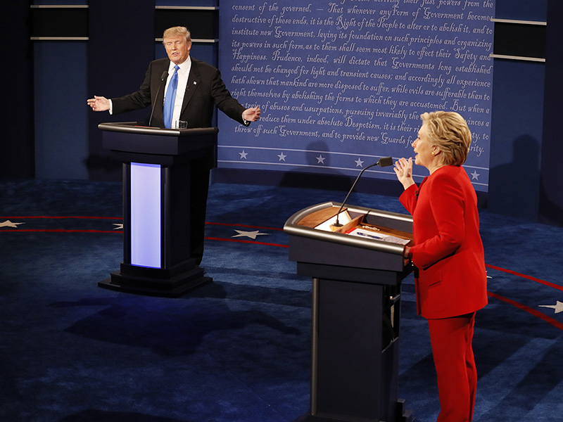Republican U.S. presidential nominee Donald Trump and Democratic U.S. presidential nominee Hillary Clinton speak simultaneously during their first presidential debate at Hofstra University in Hempstead, New York, on September 26, 2016. Photo courtesy of Reuters/Rick Wilking *Editors: This photo may only be republished with RNS-CONSERVATIVES-LETTER, originally transmitted on Sept. 29, 2016.