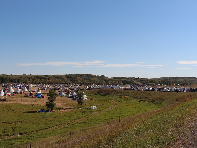 An estimated 7,000 people are gathered in solidarity with the Standing Rock Sioux Tribe in opposition to the Dakota Access pipeline project at the Oceti Sakowin camp near the Standing Rock Reservation in North Dakota, pictured on Sept. 14, 2016. It's reportedly the largest gathering of Native Americans in more than a century. RNS photo by Emily McFarlan Miller