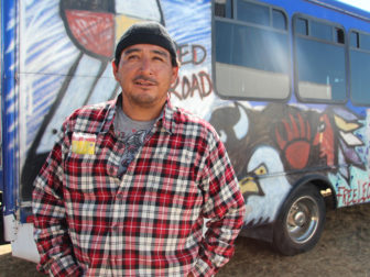 Dana Yellow Fat, pictured on Sept. 14, 2016, says all the decisions he makes as a Standing Rock Sioux Tribal Councilman must be made with the next seven generations in mind. RNS photo by Emily McFarlan Miller