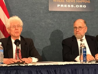 University of Pennsylvania Prof. Ram Cnaan, left, and Brookings Institute scholar William A. Galston, speak at the unveiling of new study on the worth of religion to American society on Sept. 14, 2016, at the National Press Club in Washington, D.C. RNS photo by Lauren Markoe