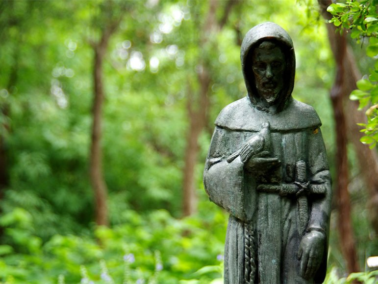 """A statue of St. Francis of Assisi in Austin, Texas.  Franciscan Alliance health system is taking """"saint"""" out of the name of a dozen of its Midwestern hospitals. Photo courtesy of Sarah Owen via Flickr Creative Commons"""