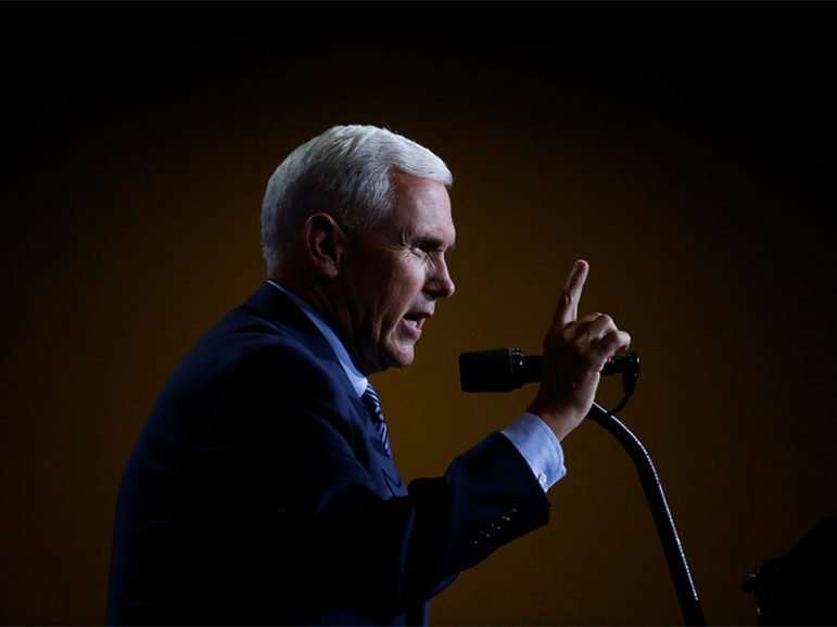 Republican vice presidential nominee, Indiana Governor Mike Pence, speaks at a campaign rally in Phoenix, Arizona, on August 31, 2016. Photo courtesy of REUTERS/Carlo Allegri
