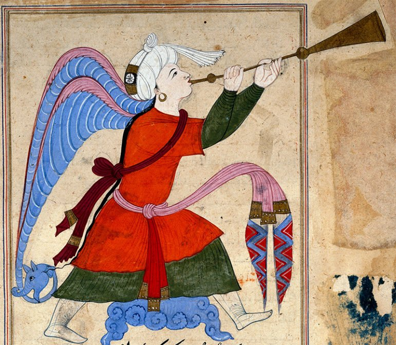 The Archangel Israfil (detail) from The Wonders of Creation and Oddities of Existence ('Aja'ib al-Makhluqat) by al-Qazwini (1202–1283)