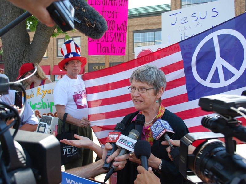 Sister Simone Campbell talks to the press right after the nuns' meeting with a representative of Rep. Paul Ryan, R-Wis., in Janesville, Wis., in 2012. RNS photo by Phil Haslanger