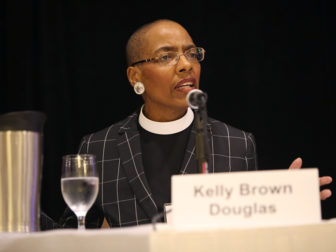 The Rev. Dr. Kelly Brown Douglas of the Washington National Cathedral speaks on a panel about race and religion during the 2016 Religion Newswriters Association annual conference in Silver Spring, Md., on Sept. 23, 2016. RNS photo by Sally Morrow