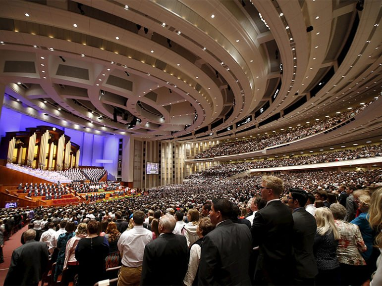 The Mormon Tabernacle Choir and conference-goers sing at the first session of the Church of Jesus Christ of Latter-day Saints' 185th Annual General Conference in Salt Lake City on April 4, 2015. Photo courtesy of REUTERS/George Frey *Editors: This photo may only be republished with RNS-RIESS-COLUMN, originally transmitted on September 16, 2016.