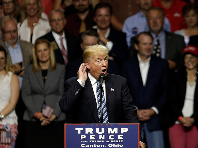 Republican presidential nominee Donald Trump speaks at a campaign rally in Canton, Ohio, on Sept. 14, 2016. Photo courtesy of Reuters/Mike Segar