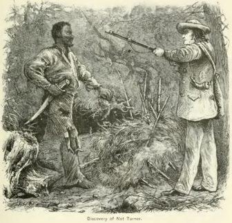 Discovery of Nat Turner: wood engraving illustrating Benjamin Phipps's capture of Nat Turner (1800-1831) on October 30, 1831.