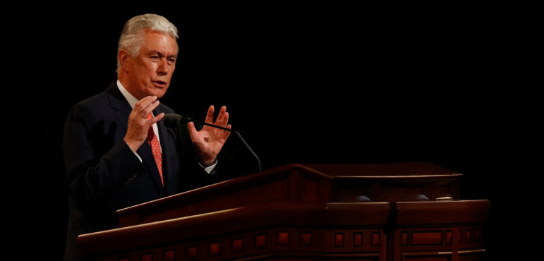 Dieter F. Uchtdorf, who was at that time second counselor in the LDS First Presidency, addresses the audience during the Saturday morning session of general conference in the Conference Center in Salt Lake City, October 1, 2016. ©2016 by Intellectual Reserve, Inc. All rights reserved.
