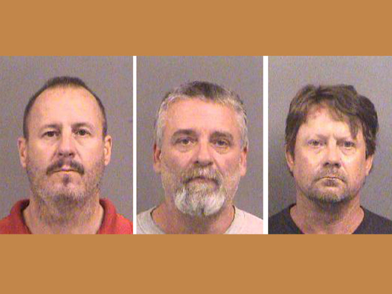 Left to right, Curtis Allen, 49; Gavin Wright, 49; and Patrick Eugene Stein, 47,  shown in 2016 booking photos, face trial on charges of plotting to bomb a Muslim neighborhood in southwest Kansas. Photo courtesy of Sedgwick County Sheriff's Office