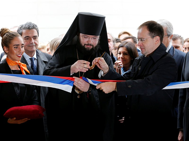 Bishop Nestor cuts the ribbon during the inauguration of the Russian Orthodox Cathedral Sainte-Trinite, with the Spiritual and Cultural centre, in Paris