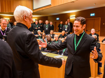 The Rev. Timothy Kesicki, right, meets the new superior general, Father Arturo Sosa Abascal. Photo courtesy of Rev. Don Dol