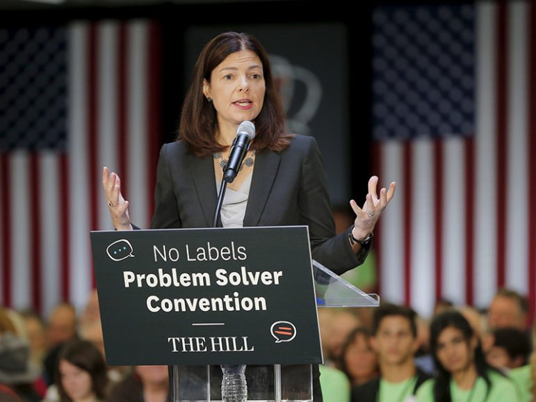U.S. Senator Kelly Ayotte (R-NH) speaks at the No Labels Problem Solver Convention in Manchester, New Hampshire October 12, 2015. Photo courtesy of Reuters/Brian Snyder