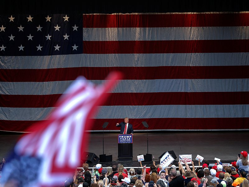 Republican presidential nominee Donald Trump speaks at a campaign rally in Henderson, Nevada, on October 5, 2016. Photo courtesy of Reuters/Mike Segar *Editors: This photo may only be republished with RNS-BURANA-OPED, originally transmitted on October 6, 2016.