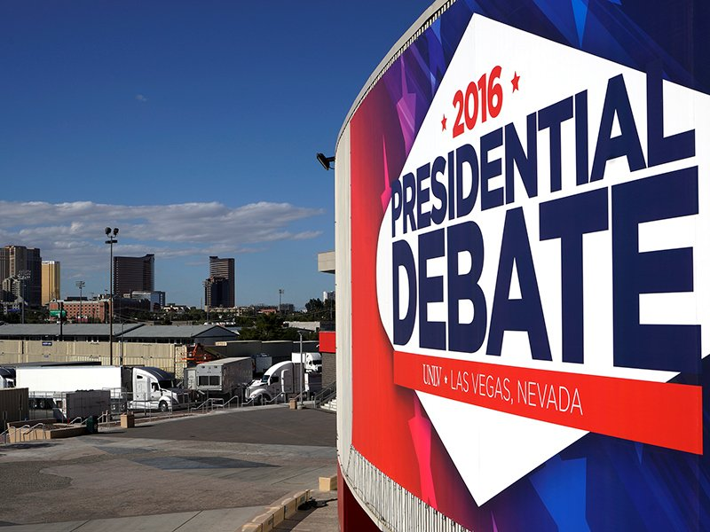 A banner hangs at the University of Las Vegas site of the last 2016 U.S. presidential debate within sight of hotels on the strip in Las Vegas on October 17, 2016. Photo courtesy of Reuters/Rick Wilking *Editors: This photo may only be republished with RNS-CAMOSY-OPED, originally transmitted on Oct. 20, 2016.