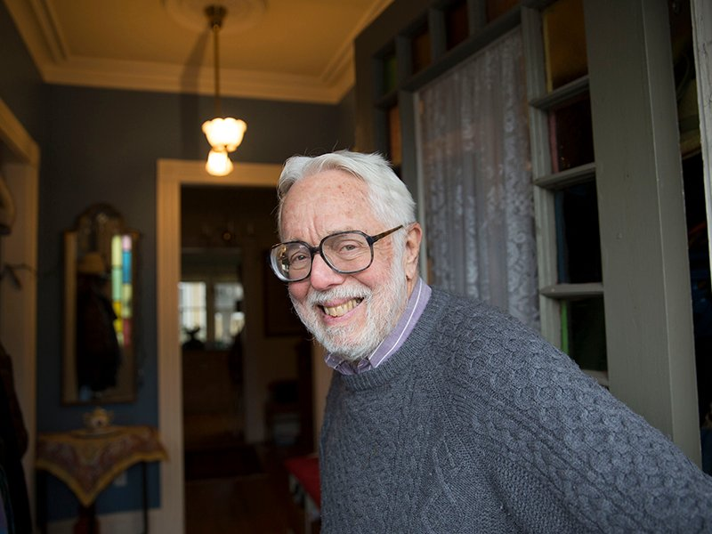 "Harvard Divinity School professor emeritus Harvey Cox wrote a new book ""How to read the Bible."" He is seen inside his home in Cambridge at Harvard University. Photo by Kris Snibbe/Harvard Staff Photographer"