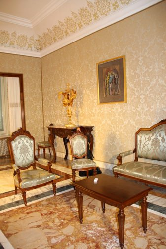 A plush sitting room inside the papal residence at Castel Gandolfo which is to be open to the public.RNS photo by Josephine McKenna
