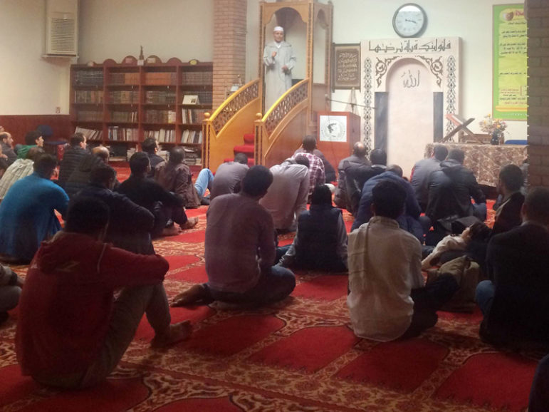 Worshippers pray during Friday prayers at the Arab-Hellenic Center for Culture. RNS photo by Umar Farooq