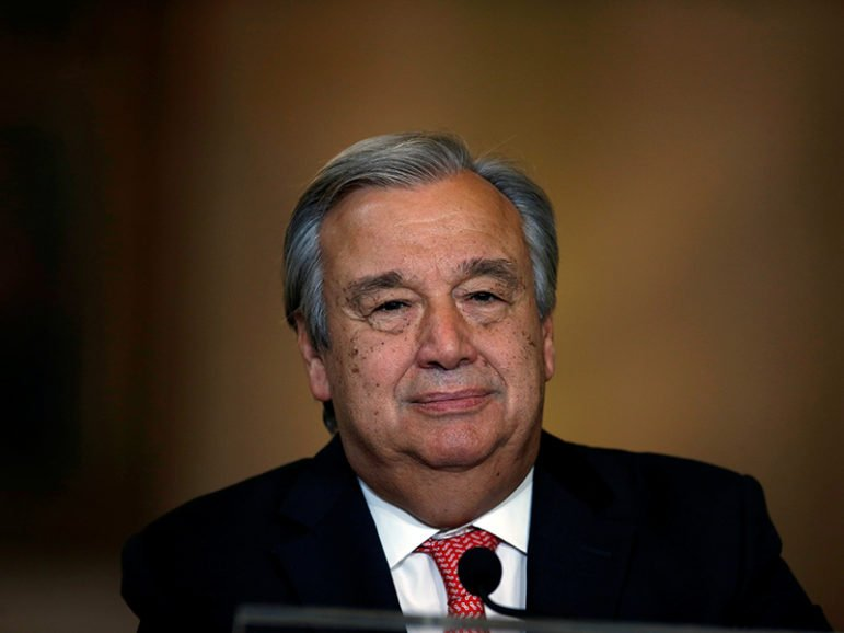 Nominated U.N. Secretary-General Antonio Guterres attends a news conference at Necessidades Palace in Lisbon, Portugal on October 6, 2016. Photo courtesy of Reuters/Rafael Marchante