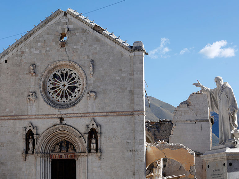 The Basilica of St. Benedict in the ancient city of Norcia is seen on Oct. 31, 2016 following an earthquake in central Italy. Photo courtesy of Reuters/Remo Casilli *Editors: This photo may only be republished with RNS-ITALY-QUAKE, originally transmitted on Oct. 31, 2016.