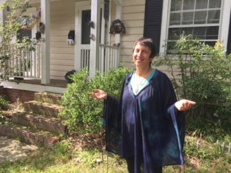Rinah Rachel Galper, an ordained Jewish priestess, stands outside her home in Durham, N.C. RNS photo by Yonat Shimron