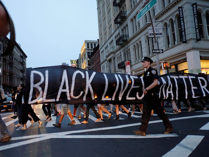 People take part in a protest against police brutality and in support of Black Lives Matter during a march in New York, on July 9, 2016. Photo courtesy of Reuters/Eduardo Munoz/File Photo *Editors: This photo may only be republished with RNS-LUPFER-OPED, originally transmitted on October 6, 2016.