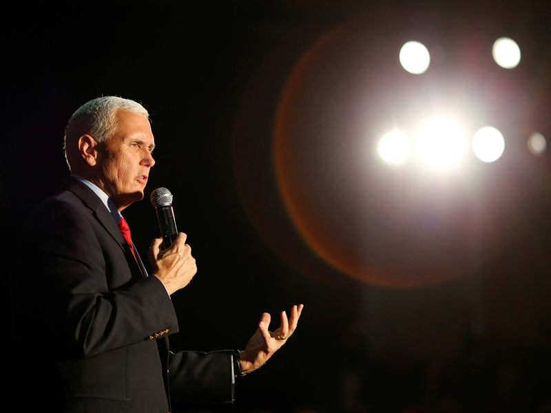 Indiana Governor Mike Pence, the Republican vice presidential nominee, speaks during a rally in Charlotte, North Carolina, on October 10, 2016. Photo courtesy of Reuters/Jason Miczek