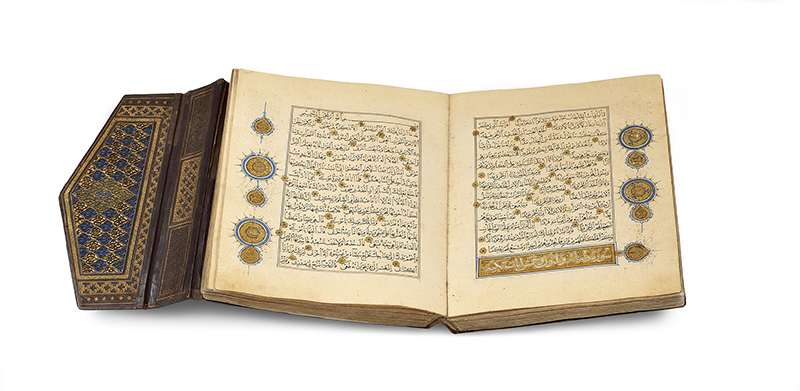 A single -volume Qur'an Copied by Yaqut al -Musta'simi Iraq, the calligrapher who worked in 13th century Baghdad. The ink, color, and gold on paper manuscript is from the Museum of Turkish and Islamic Arts in Istanbul and is now on display at the Smithsonian's Arthur M. Sackler Gallery.Photo courtesy of the Smithsonian