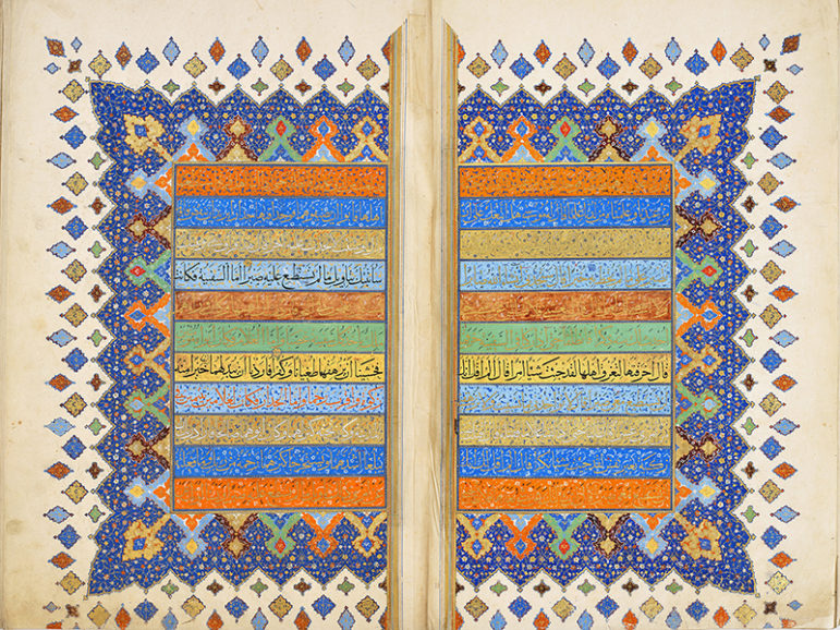 A single -volume Qur'an copied by Abd al -Qadir ibn Abd al –Wahhabi, who worked in what is now Iran in the 16th century. The ink, color, and gold on paper manuscript is from the Museum of Turkish and Islamic Arts, in Istanbul and is now on display at the Smithsonian's Arthur M. Sackler Gallery. Photo courtesy of Smithsonian
