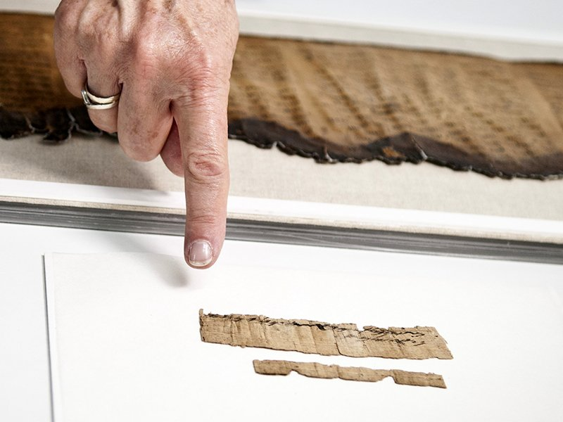 The document is preserved in the Israel Antiquities Authority's Dead Sea Scrolls laboratories. Photo by Shai Halevi, courtesy of the Israel Antiquities Authority