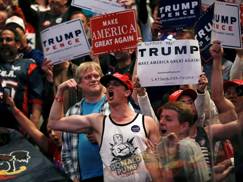 Supporters of Republican U.S. presidential nominee Donald Trump cheer at a campaign rally in Wilkes-Barre, Pennsylvania, on October 10, 2016. Photo courtesy of Reuters/Mike Segar *Editors: This photo may only be republished with RNS-TRUMP-EVANGELICALS, originally transmitted on October 11, 2016.