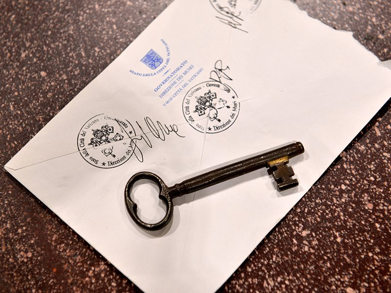 The key to the Sistine chapel and the envelope in which it is sealed every day. Photo taken on October 6, 2016. Photograph by Chris Warde-Jones