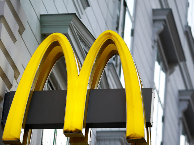 The logo of McDonald's is seen outside a shop in Vienna in Vienna on Oct. 1, 2016. Photo courtesy of Reuters/Leonhard Foeger *Editors: This photo may only be republished with RNS-VATICAN-MCDONALDS, originally transmitted on October 18, 2016.