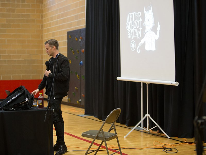 Lucien Greaves, spokesperson and co-founder of the Satanic Temple, speaks about religious freedom and the After School Satan Club on September 30, 2016 in Kansas City, Mo. RNS photo by Sally Morrow